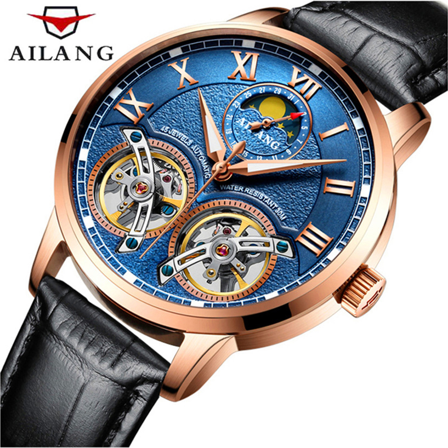 AILANG Mens Watches Top Brand Luxury Automatic Mechanical Watches Men Waterproof Double Tourbillon Watch Genuine Leather WatchAILANG Mens Watches Top Brand Luxury Automatic Mechanical Watches Men Waterproof Double Tourbillon Watch Genuine Leather Watch