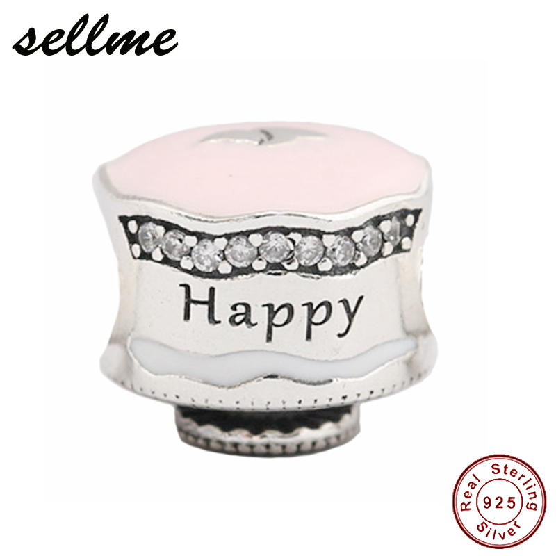 100% Real 925 Sterling Silver Happy Birthday Sweet Cake Charm,Clear CZ & Pink Enamel Fit European Charms Bracelet