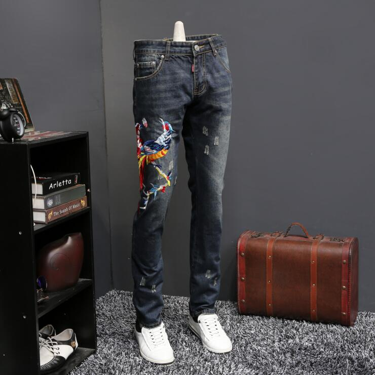Autumn and winter embroidered jeans men straight  Phoenix embroidery slim fit character long pants youth fashion design a three dimensional embroidery of flowers trees and fruits chinese embroidery handmade art design book