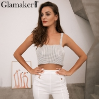 Glamaker Slash Neck Shiny Tank Top Women Rhinestone Strap Crop Top Summer Crystal Backless Short Casual