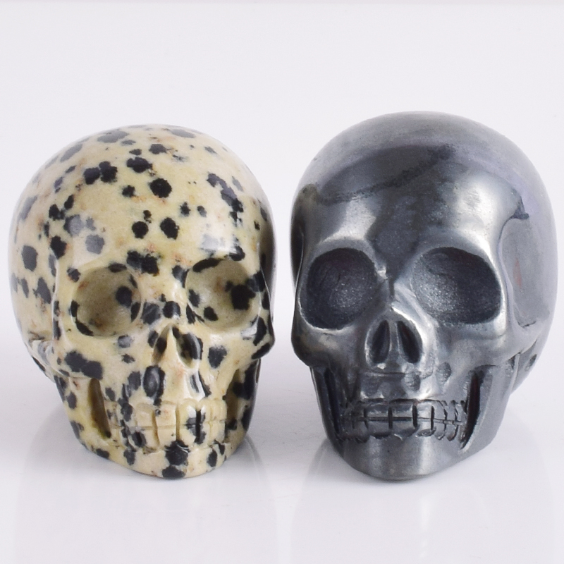 2 Inch Dalmatian Hematite Skull Statue Crystal Natural Stone Gemstone Figurine Hand Carved Bone Feng Shui Healing Collection