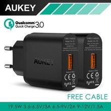 Aukey carga rápida 3.0 USB cargador de pared de la ue ee.uu. Plug Qualcomm QC3.0 Mini Auto viajes de carga para Apple iPhone 6 s HTC y Smartphone