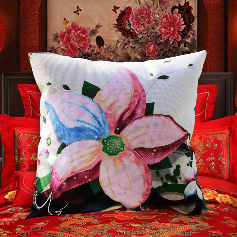 Cross Stitch Pillow Kit Embroidery Needlework Sets Diy Printed 5D Cross Stitch Pillow Kits Patterns Paintings Accessories Fabric