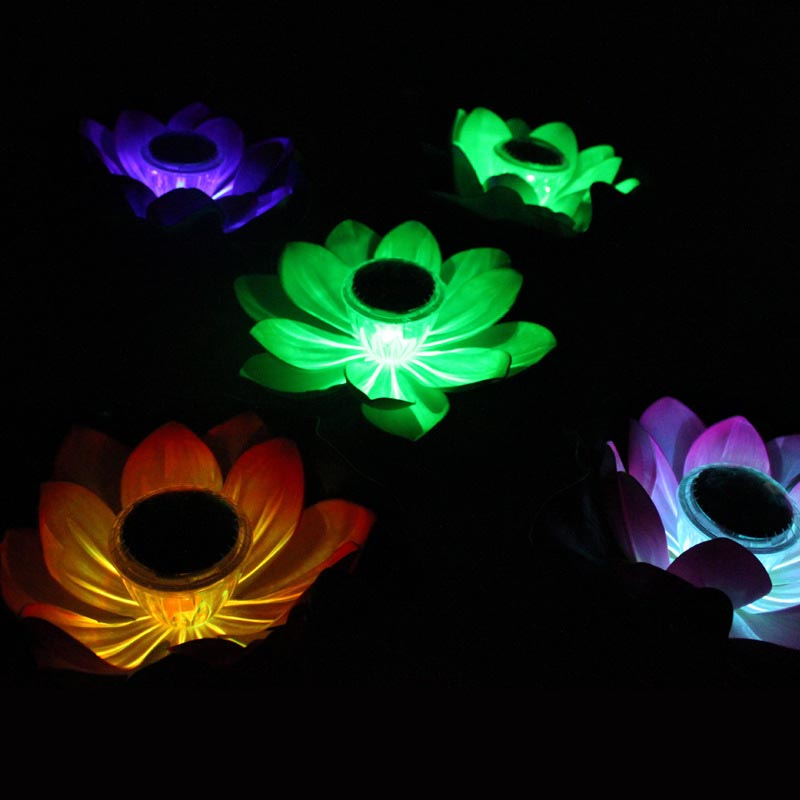 Lotus Flower Shape Solar Power Light Water Floating Outdoor Waterproof Energy Saving LED Landscape Lighting For Pool Pond Garden