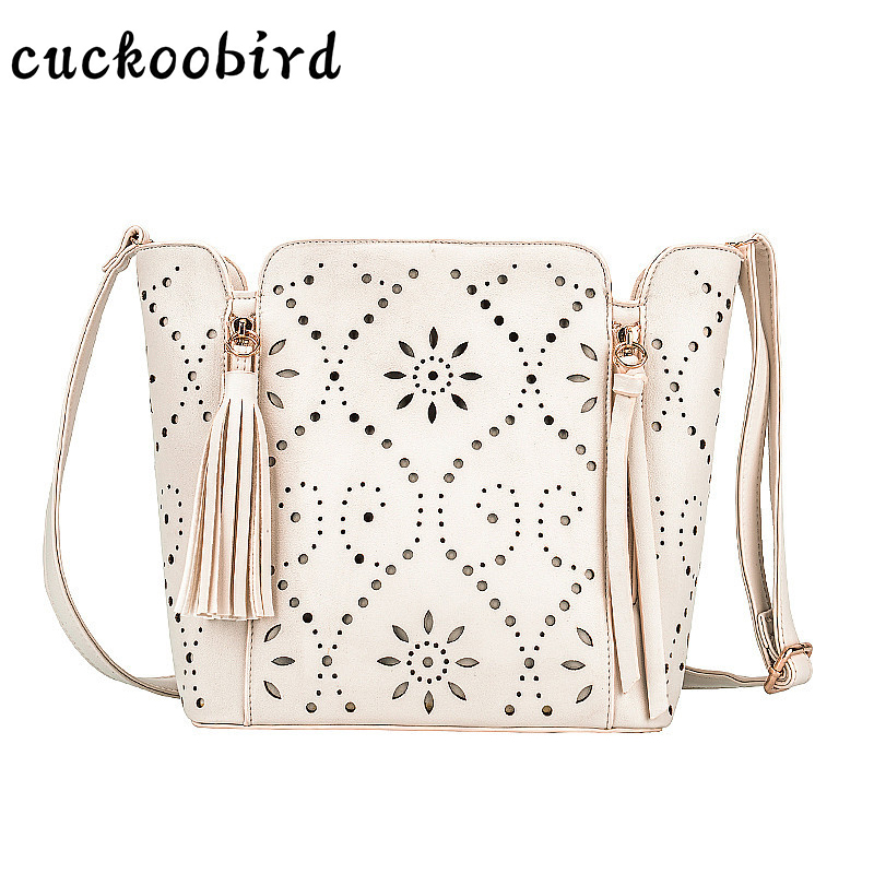 Cuckoobird Large Capacity Crossbody Bag Hollow Out Fashion Design Bucket Bag Women PU Wide Strap Shoulder Bag Handbag 2017 120cm diy metal purse chain strap handle bag accessories shoulder crossbody bag handbag replacement fashion long chains new