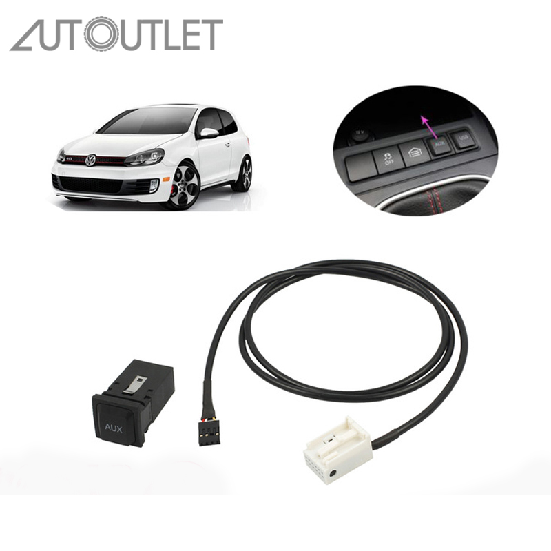 AUTOUTLET AUX IN Socket Switch Cable For VW Golf Sagitar Jetta MK5 MK6 RCD 510 310+ 300+ AUX Plug AUX Extension Cable цена
