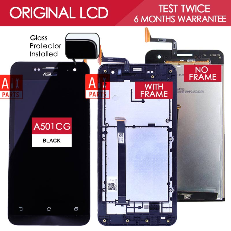 100 Original Tested 1280x720 Display For ASUS Zenfone 5 LCD Touch Screen With Frame Digitizer A500KL