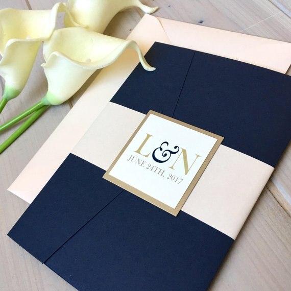CA0903 Fully Assembled Pocketfold Wedding Invitations White and Blue Invitations Pocket Invitations Modern Wedding Invitations