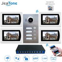Puerta IP teléfono WIFI Video intercomunicador sistema Video timbre 7 ''pantalla táctil para 4 pisos apartamento/8 zonas soporte de alarma para teléfono inteligente