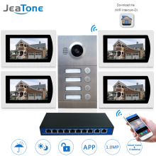 "IP Door Phone WIFI Video Intercom System Video Doorbell 7"" Touch Screen for 4 Floors Apartment/8 Zone Alarm Support Smart Phone"