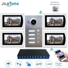 IP домофон с поддержкой Wi Fi, видеодомофон с 7 дюймовым сенсорным экраном для 4 х этажных квартир/8 зонных систем сигнализации