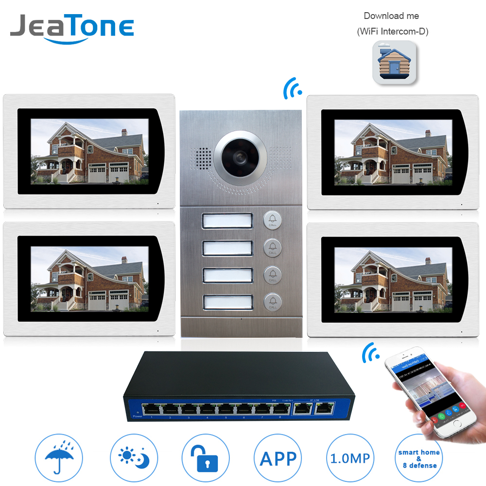 Téléphone De Porte IP Système D'interphone Vidéo WIFI Sonnette Vidéo 7 ''Écran Tactile pour 4 Étages Appartement/8 Zones support d'alarme de Téléphone Intelligent