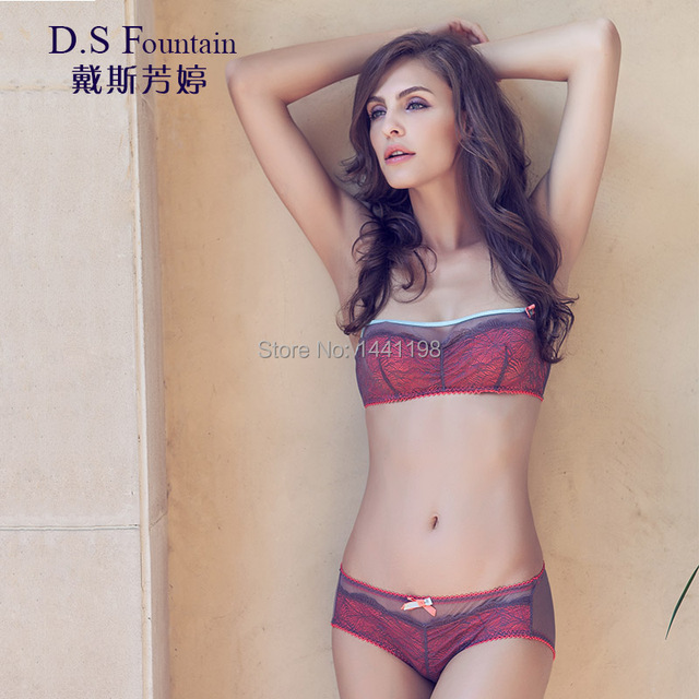 58d5a649d8fd2 Fashion autumn and winter ultra-thin transparent sexy bra lace tube top  design cup small bra female seamless underwear set