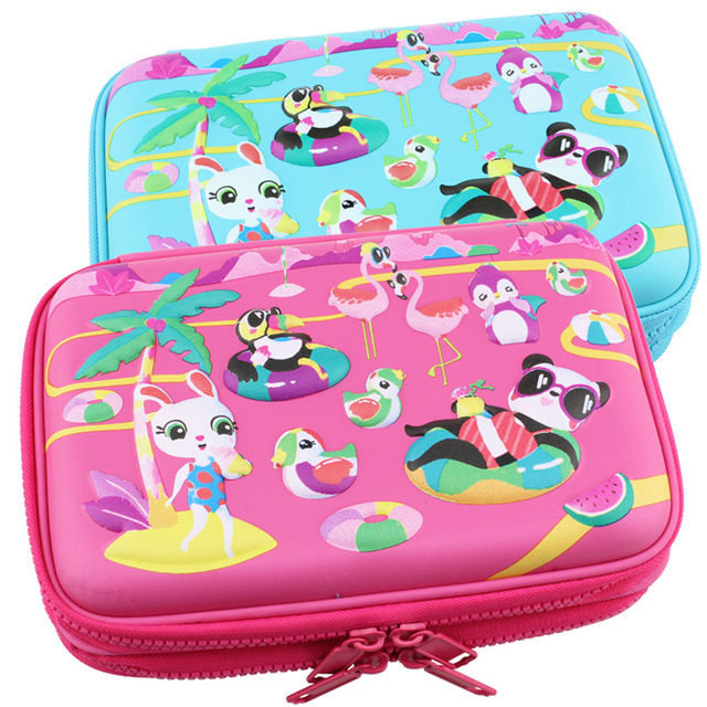Kawaii School Pencil Case for Girls Penal Cute 3D Pen Bag EVA 2 Layers Large Penalty Box Boys Pencilcase Kit Stationery Pouch