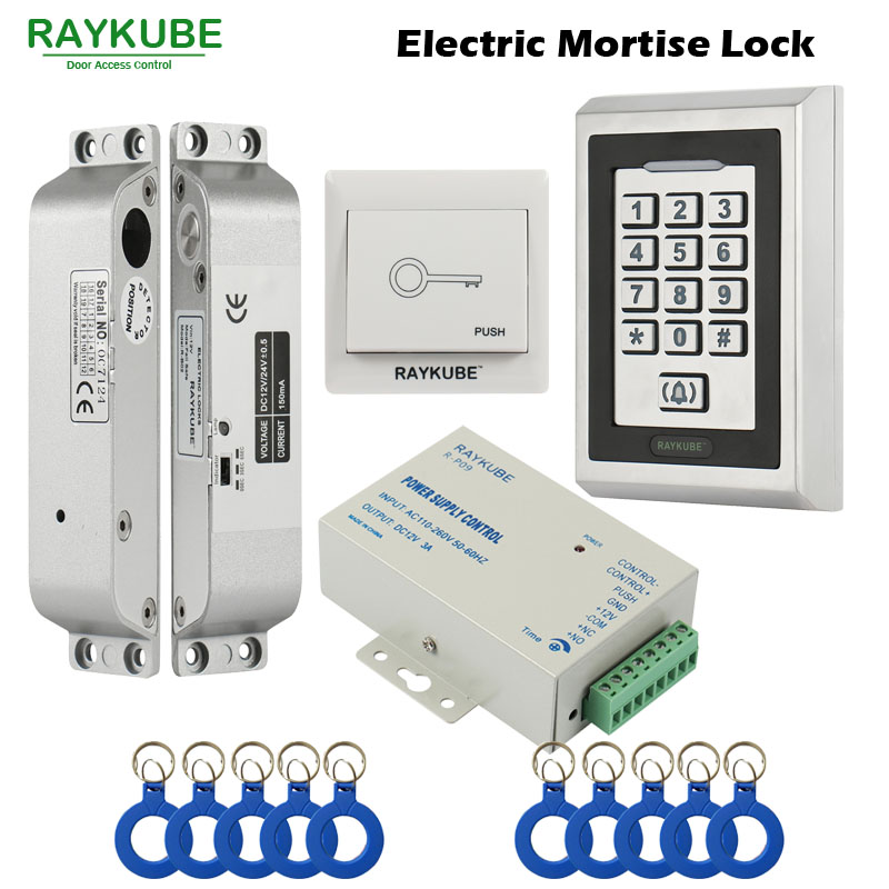 US $70 6 24% OFF|RAYKUBE FRID Access Control Kit Electric Mortise Lock +  Metal Keypad Exit Button Power Supply Door Security-in Access Control Kits