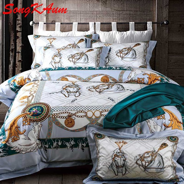 4 Pieces Luxury Brand Bedding Set 100% Pima Cotton Bed Set Noble Palace  Royal