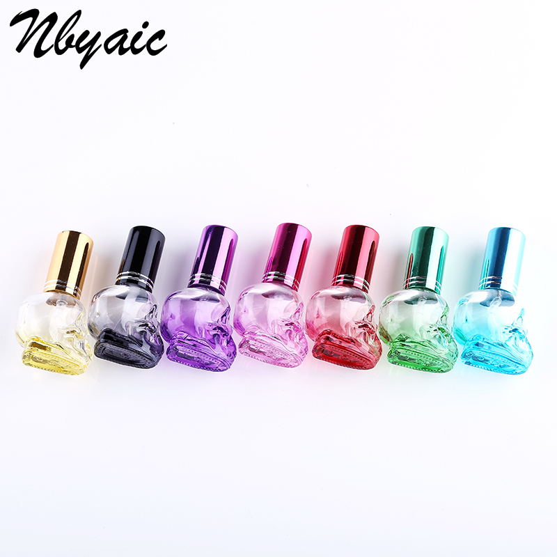 Free Shipping 1Pcs Color Taro Glass Perfume Bottle Portable Bottle Spray Bottle Aluminum Sprayer 8ml