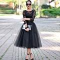 Vestido de Tul Negro Vestidos de Baile de Longitud de té Formal con Tres Cuartos de 2016 Vestidos De Gala Largos vestido curto