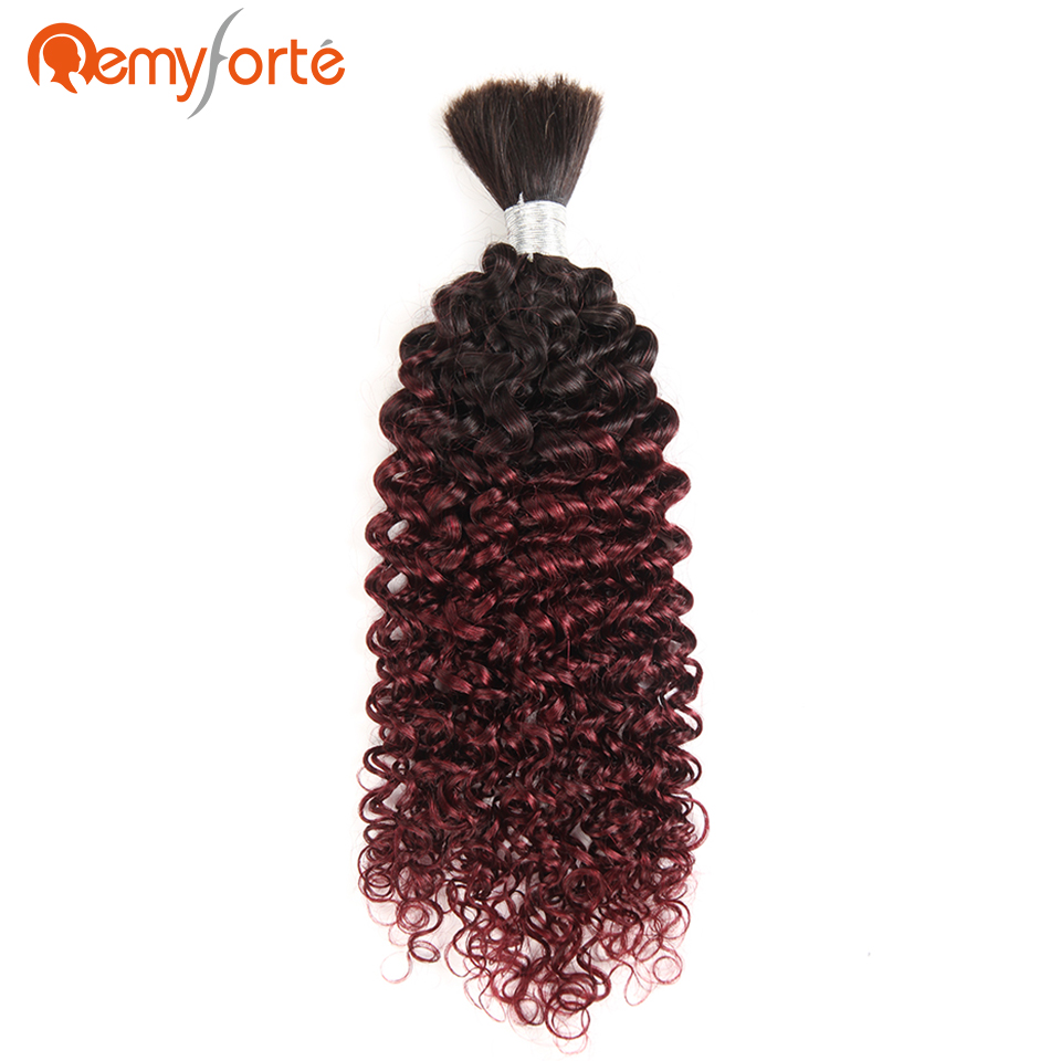 Remy Forte Hair Brazilian Curly Human Bulk Hair For Braiding No Weft Free Shipping 10 To 30 Inch Braids Hair Bundles Ombre 99J