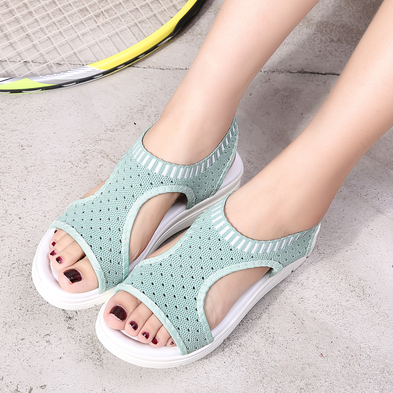 Weweya Big Size 35-46 Air Mesh Sandals Women Slip On Hole Shoes Woman Open Toe Wedges Platform Sandals Woman Sandalia Feminina big toe sandal