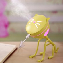 Office Desktop Mini Cartoon Cat Ultrasonic Humidifier Air Purifier with LED Light Creative Portable USB Aroma Humidifier for Car