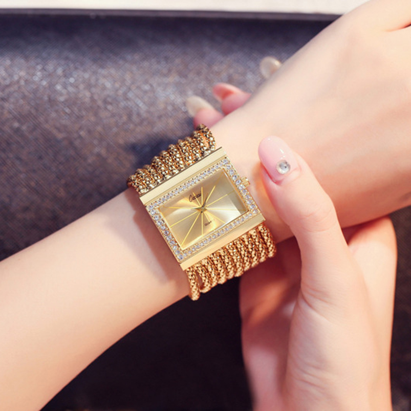 Chic Luxury Gold Women Watches Quartz-watch Stainless Steel Analog Ladies Clock Rhinestone Bracelet Watch Hour Relogio Feminino gold women ladies quartz watch hot fashion rhinestone golden mesh band watches women diamond bracelet clock relogio feminino