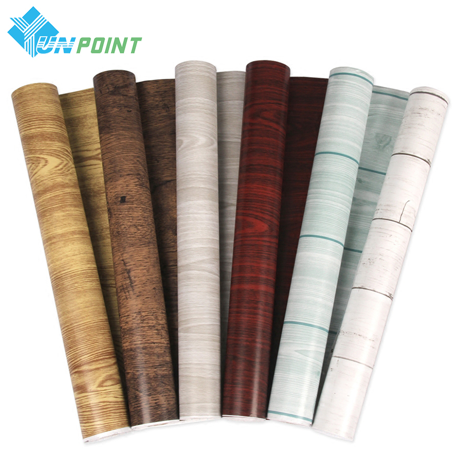 5 /10M Self adhesive Wood Grain Wallpaper Waterproof Old Furniture Vinyl Stickers Wooden Door Wardrobe Desktop PVC Wall papers