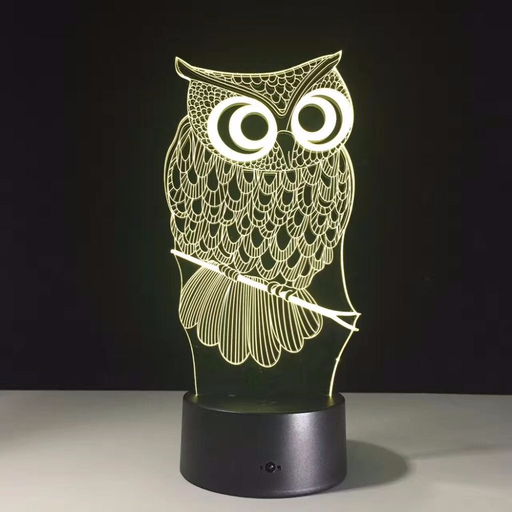 Owl 3D Novelty Lighting Illusion Lamp 7 Color Changing Touch Table Desk LED  Night Light Great Kids Gifts Home Decoration In LED Night Lights From  Lights ...