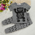 Summer new Boys outfits clothing 2pcs/set personalized alphabet Graffiti animal Cartoon printing T-shirt+ Pants