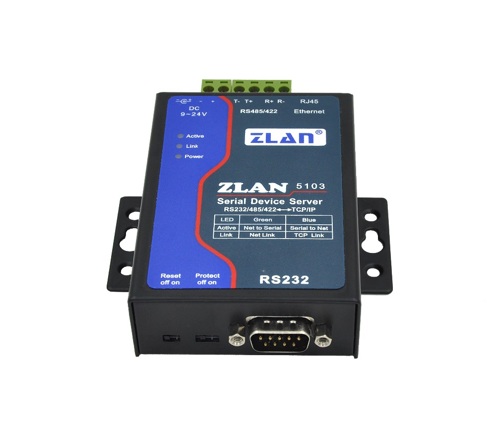 RS232 RS485 RS422 to Ethernet RJ45 Converter serial port server ZLAN5103 UDP mode DHCP DNS rs232 serial port to ethernet server two way transparent transmission rs232 serial server