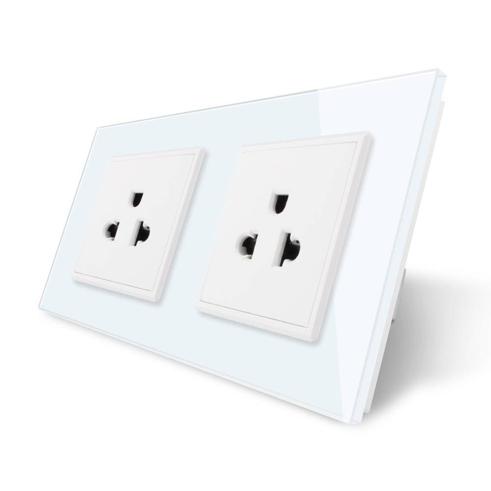LIVOLO, Manufacturer, 16A US Standard, Wall Electric / Power Double Socket /Plug, Crystal Glass Panel,VL-C7C2US-11