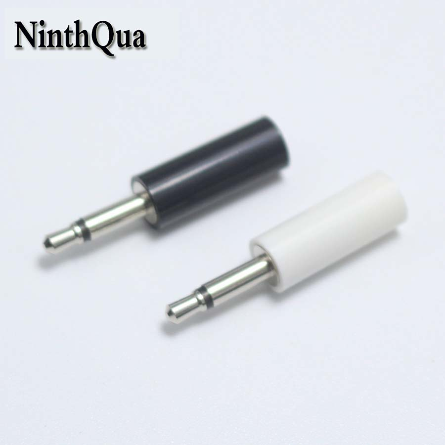 2pcs <font><b>2.5mm</b></font> mono headset plug jack 2 pole 2.5 audio plug Jack Adaptor <font><b>connector</b></font> for phone white and black image