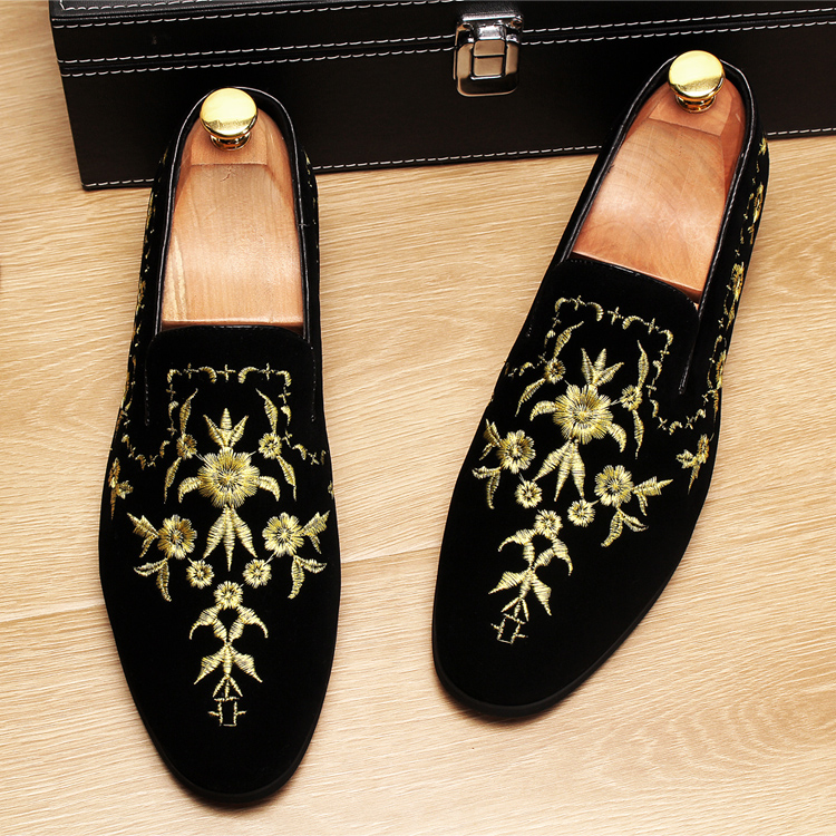 Men 2019 luxury Brand Designer shoes flock velvet Sun flower Embroidery gentleman loafers Dress Wedding driver Italian flats 13