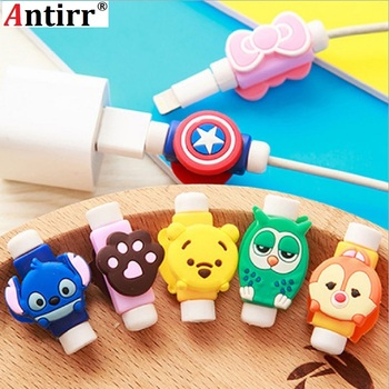Cute Cartoon Charger Cable Protector de cabo USB Cable Winder Cover Case For IPhone 4 4s 5 5s 6 6s 7 7 plus 8 X Cable Protect image