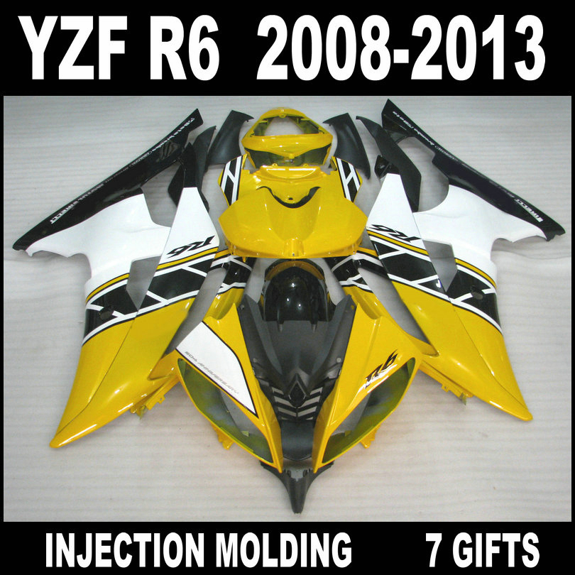 Hot sale Injection mold for <font><b>2008</b></font> 2009 - 2013 YAMAHA <font><b>R6</b></font> yellow white black <font><b>fairings</b></font> 08 09 10 11 12 13 <font><b>YZF</b></font> <font><b>R6</b></font> <font><b>fairing</b></font> <font><b>set</b></font> TGU85 image