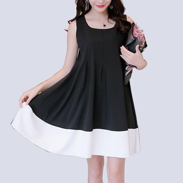 Лето dress новый стиль рукавов свободные dress двухцветный шить плюс размер женская одежда повседневная пляж украины vestidos
