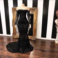 Потрясающие Длинные Черная Русалка платье для выпускного вечера es 2019 Лодка шеи Sparkly блестки с длинным рукавом африканского черного женское