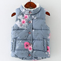 Ocasional 2017 de invierno niñas chaleco de cuello alto espesar chaleco niños ropa niños chaleco patrón de la impresión floral sin mangas del chaleco
