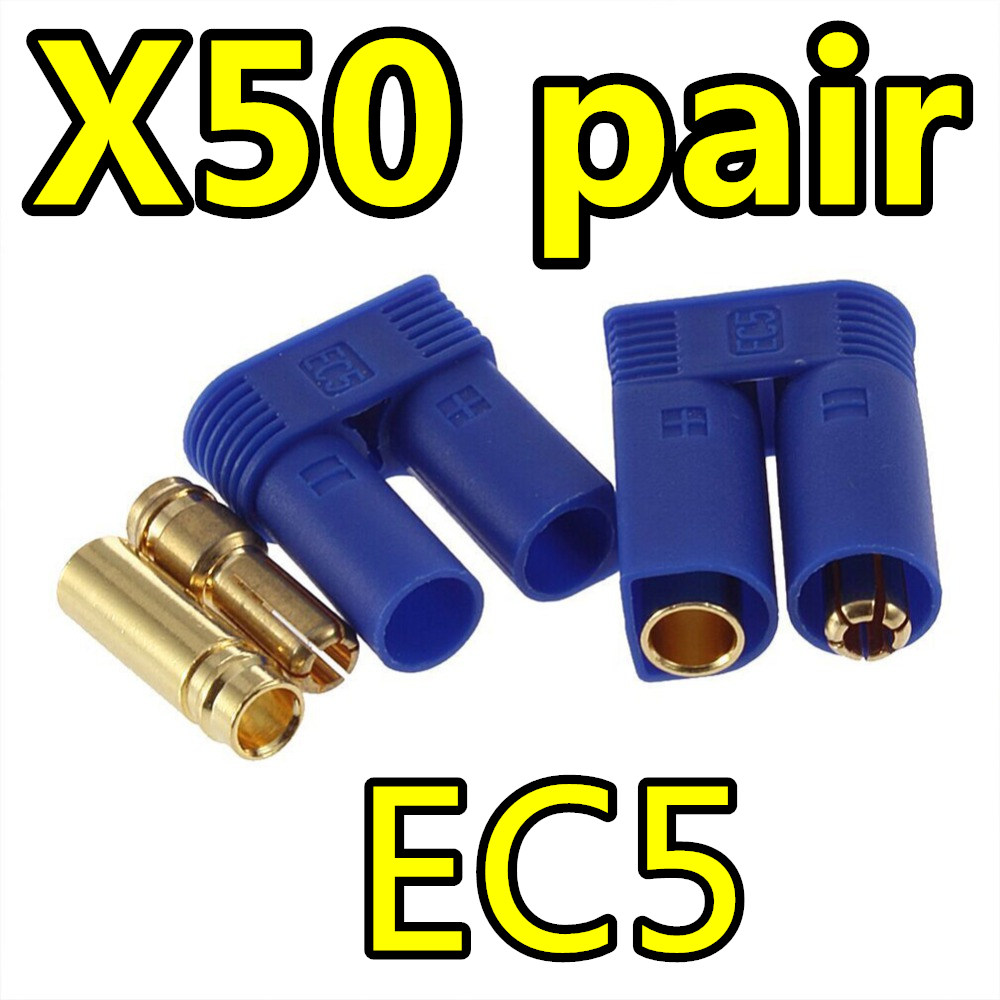 цены  50 Pairs EC5 Device Connector Plug for RC Car Plane Helicopter Multi-Copter Free Shipping