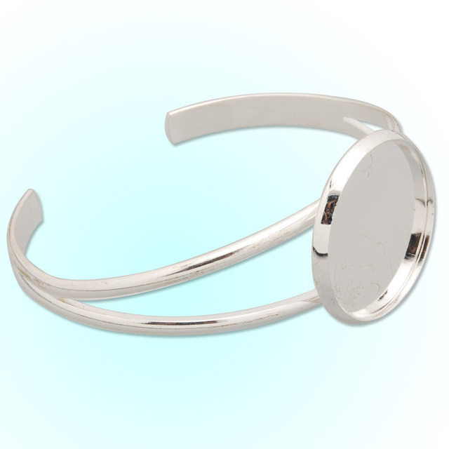 Whole Bracelet With 27 Mm Dia Bezel Adjule Silver Plated Metal Cuff Blanks Bangles