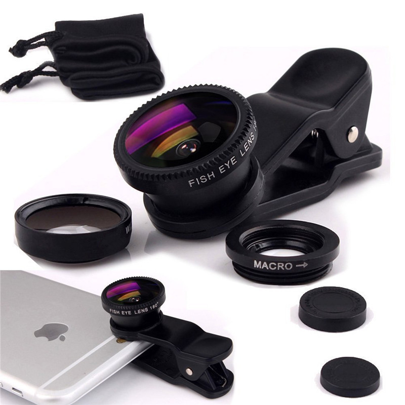 Fisheye Lens 3 in 1 mobile phone clip lenses fish eye wide angle macro camera lens for iPhone 5s 6 6s 7 Samsung S7 S6 S5 Lentes