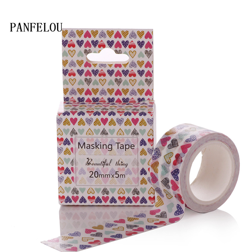 PANFELOU 2CMx5M color heart cartoon Stickers border masking adhesive line paper washi tape DIY Scrapbooking Hand account