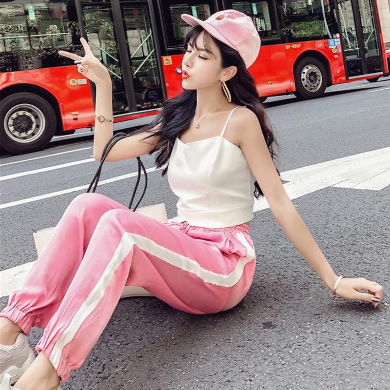 Women's Clothing New Summer Strapless Sleeveless spaghetti strap Vest crop tops+Side Stripe Harem Pants Streetwear Women's Sets 3
