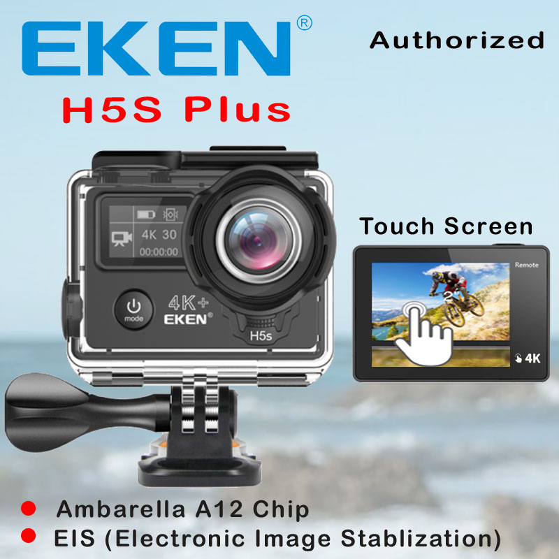 EKEN H5S Plus Ultra HD Action Camera Touch Screen Ambarella A12 EIS 4k/30fps 720p/200fps 30M waterproof go Helmet pro sport cam eken h8 h8r ultra hd 4k 30fps wifi action camera 30m waterproof 12mp 1080p 60fps dvr underwater go helmet extreme pro sport cam