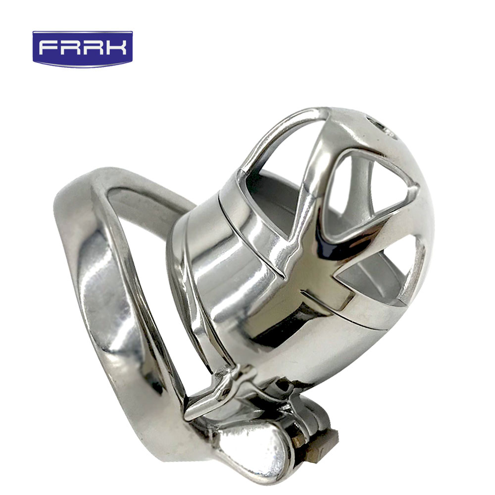 FAAK Curved ring cock metal chastity cage 304 stainless steel device penis for male sex ptducts