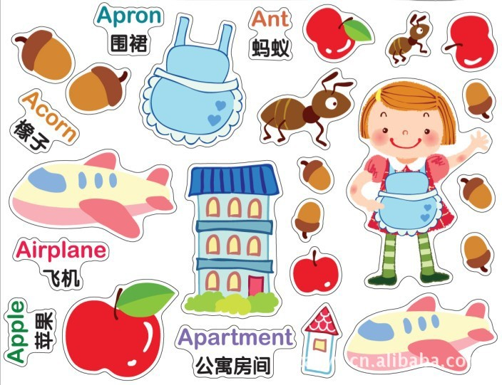 Childrens cartoon characters recognize letters posted the children room household adornment wall stick on the wall ...