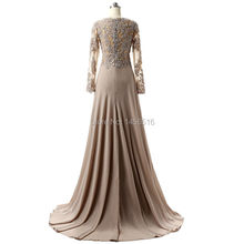 Mother Of The Bride Dresses Hot Sale Charming V neck A line Long sleeve Chiffon Applique Formal Evening Dresses Gowns