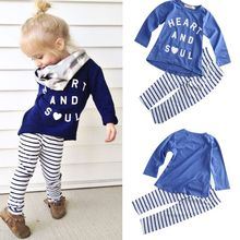 2pcs Lovely Kids Girls Blue 100% Cotton Shirt Blouse + Striped Leggings Outfits