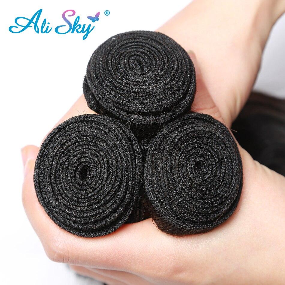 Malaysiska Body Wave 3 bundles hanterar 4x4 Top Lace Closure Free / - Mänskligt hår (svart) - Foto 4