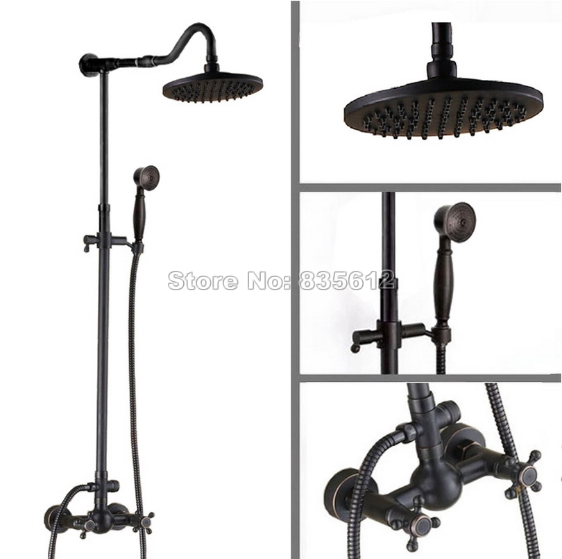 Classic Black Oil Rubbed Bronze Wall Mounted Dual Handle Mixer Taps Bathroom Rain Shower Faucet Set with Handheld Shower Wrs705